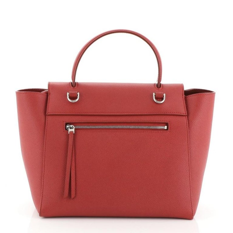 Red Celine Belt Bag Textured Leather Micro