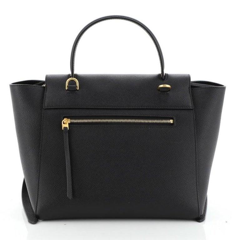 Black Celine Belt Bag Textured Leather Micro