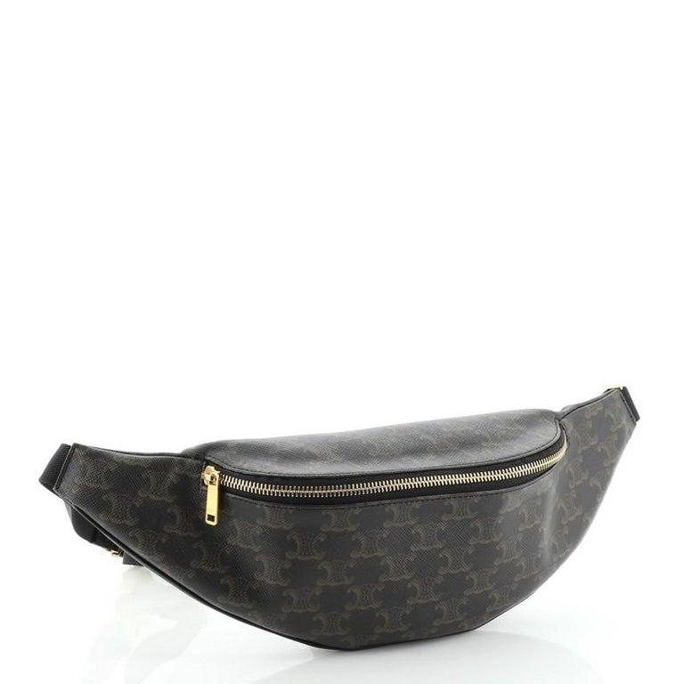 Black Celine Belt Bag Triomphe Coated Canvas