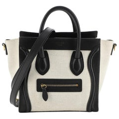 Celine Bicolor Luggage Bag Canvas and Leather Nano