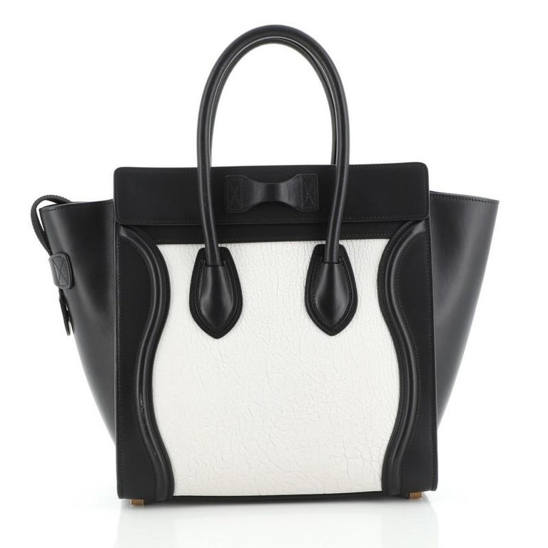 Black Celine Bicolor Luggage Bag Leather Micro