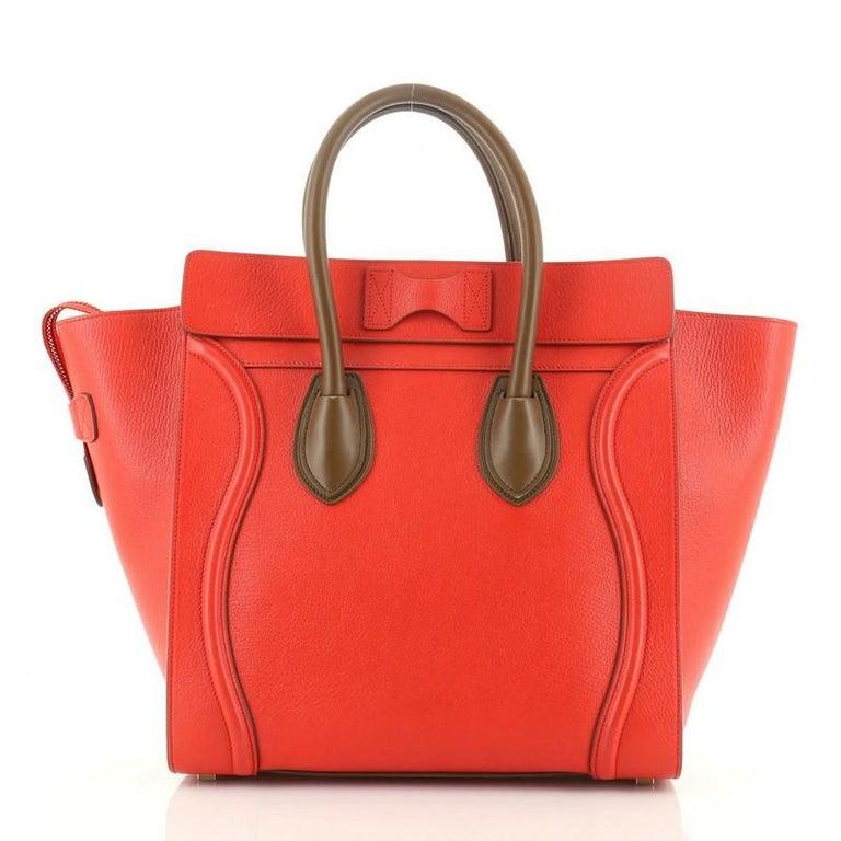 Red Celine Bicolor Luggage Bag Leather Mini For Sale