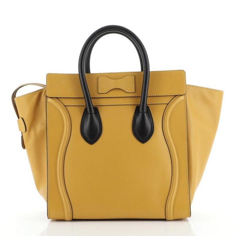 Brown Celine Bicolor Luggage Bag Leather Mini For Sale