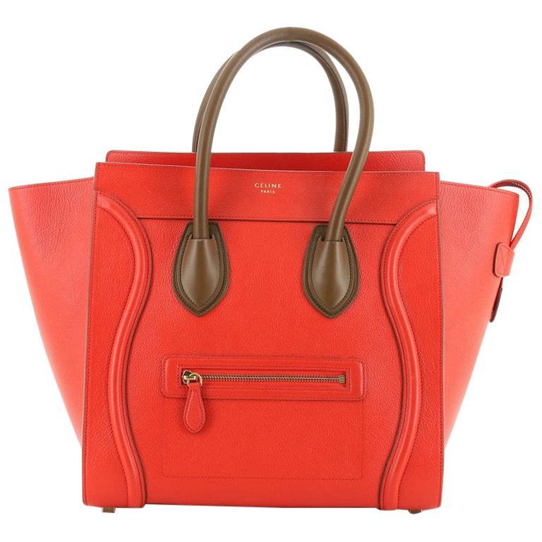 Celine Bicolor Luggage Bag Leather Mini For Sale