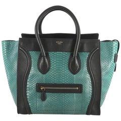 Celine Bicolor Luggage Handbag Python and Leather Mini