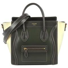 Celine Bicolor Luggage Handbag Smooth Leather Nano