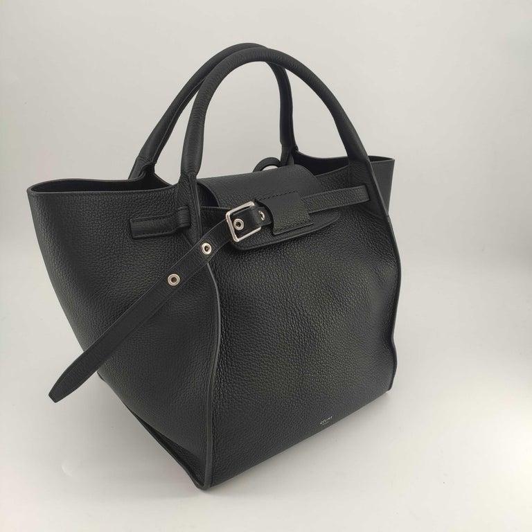 CÉLINE Big bag Shoulder bag in Black Leather In Excellent Condition For Sale In Clichy, FR