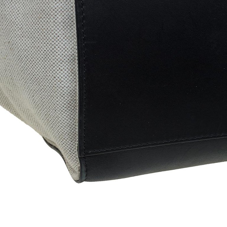 Celine Black/Beige Leather and Canvas Medium Trapeze Bag For Sale 6