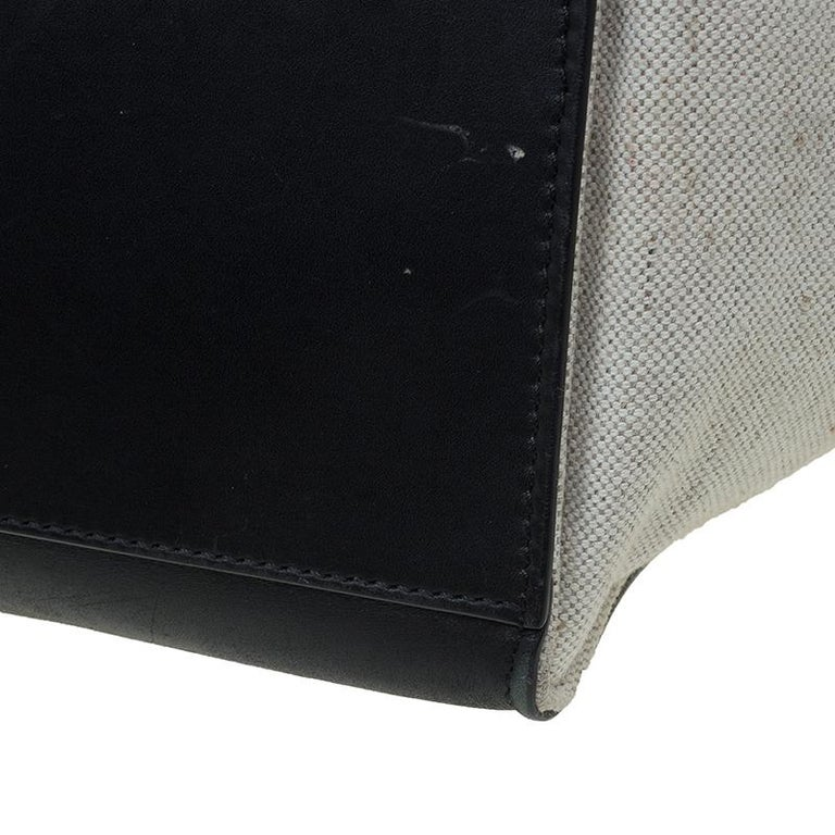 Celine Black/Beige Leather and Canvas Medium Trapeze Bag For Sale 7