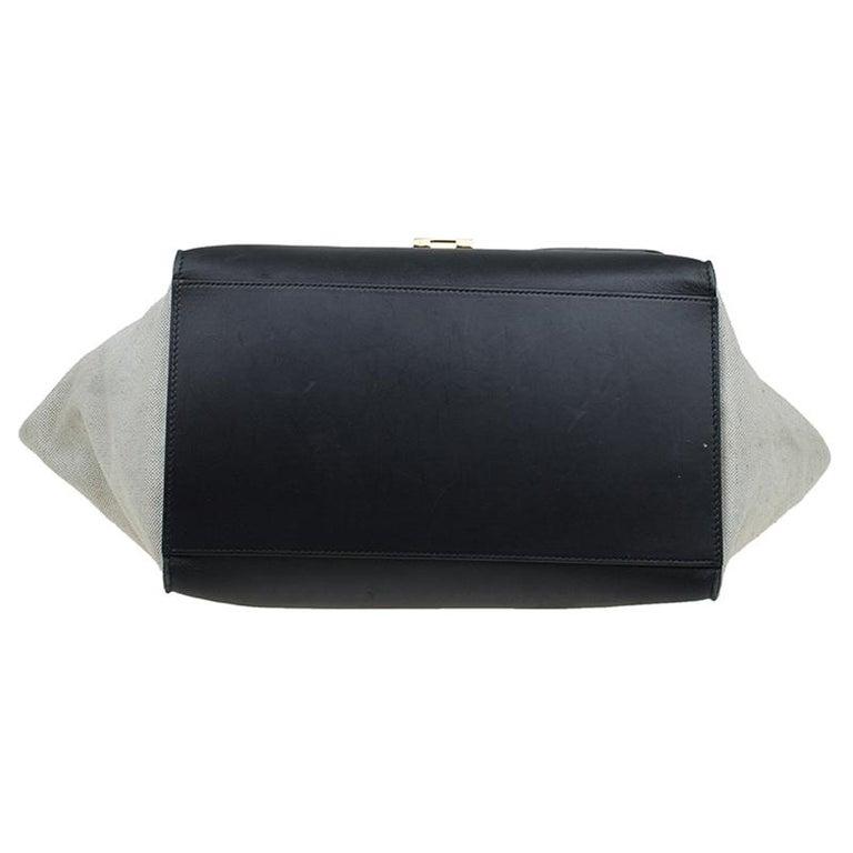 Celine Black/Beige Leather and Canvas Medium Trapeze Bag For Sale 1