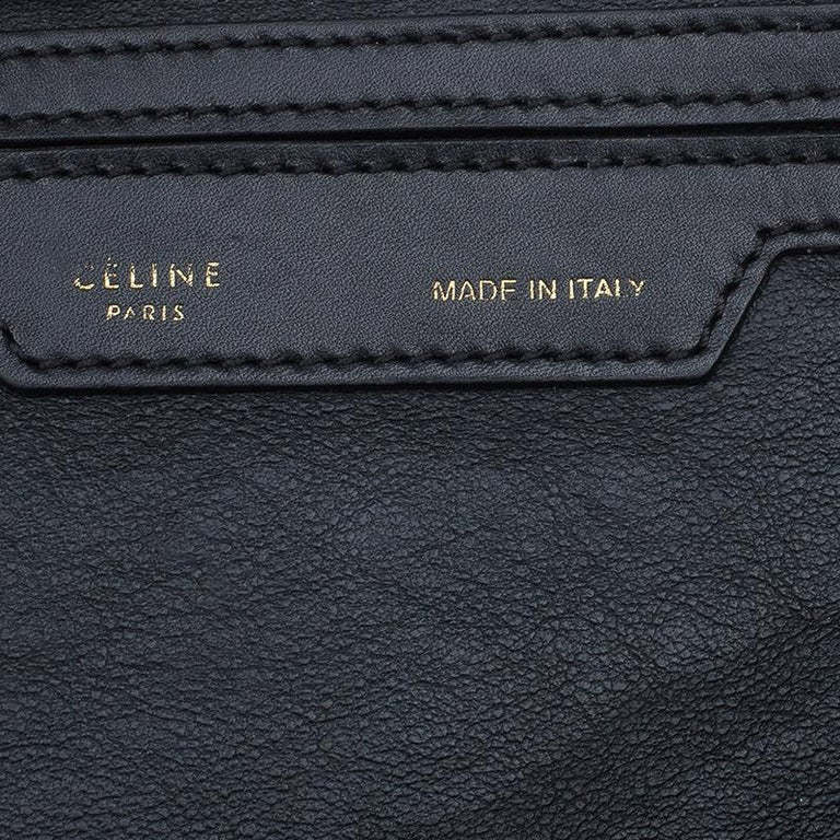 Celine Black/Beige Leather and Canvas Medium Trapeze Bag For Sale 2