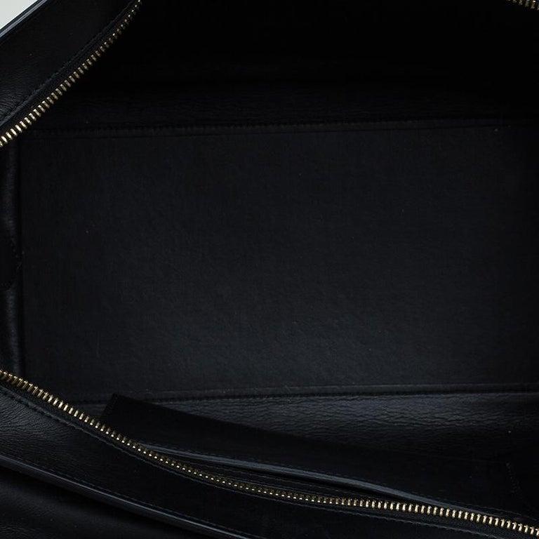 Celine Black/Beige Leather and Canvas Medium Trapeze Bag For Sale 4