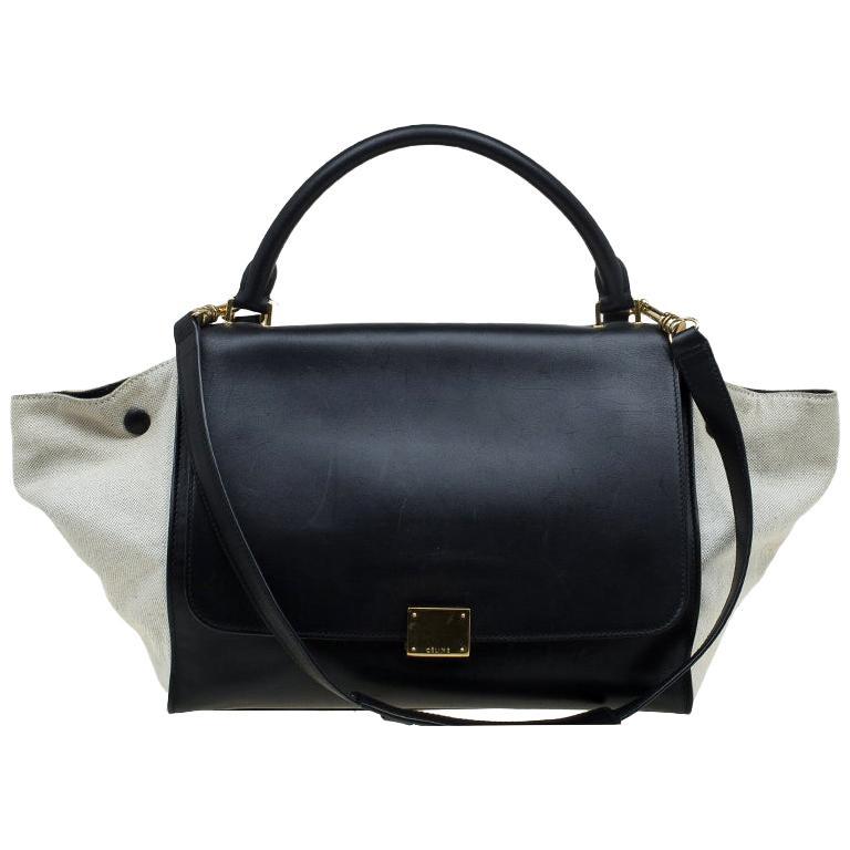 Celine Black/Beige Leather and Canvas Medium Trapeze Bag For Sale