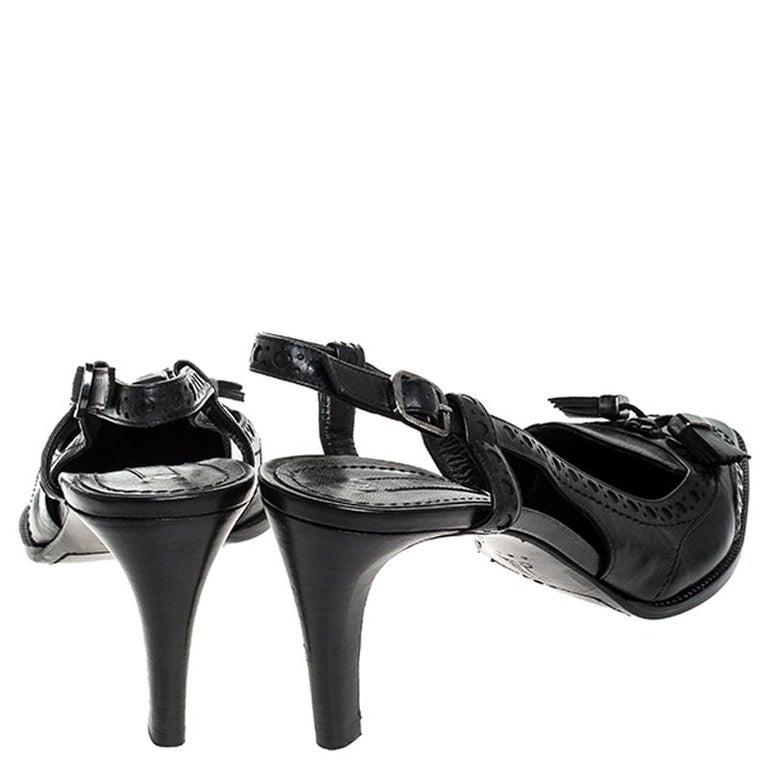 Women's Celine Black Brogue Leather Tassel Slingback Sandals Size 40 For Sale