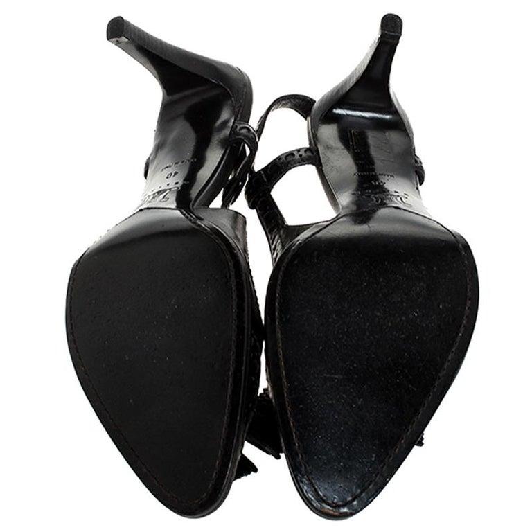 Celine Black Brogue Leather Tassel Slingback Sandals Size 40 For Sale 3