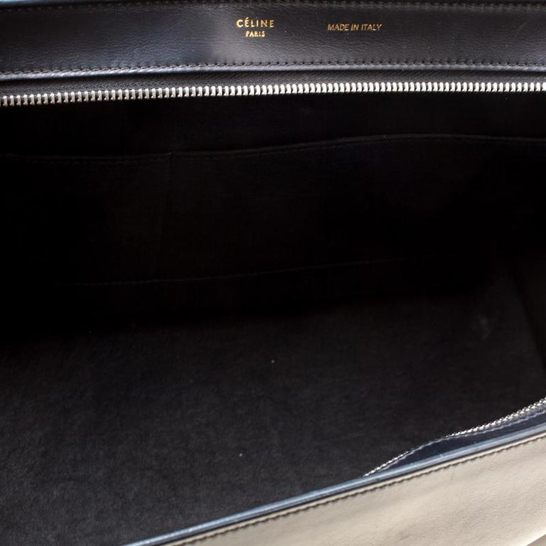 Celine Black/Brown Calf Hair and Leather Medium Trapeze Bag For Sale 6