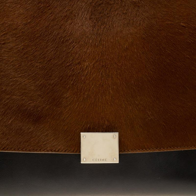 Celine Black/Brown Calf Hair and Leather Medium Trapeze Bag For Sale 3