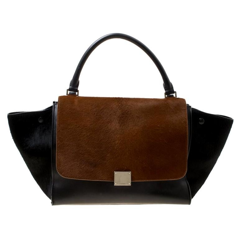 Celine Black/Brown Calf Hair and Leather Medium Trapeze Bag For Sale