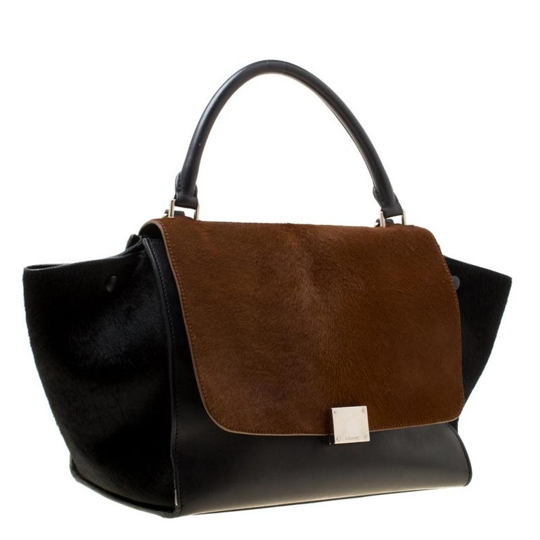 Women's Celine Black/Brown Calf Hair and Leather Medium Trapeze Top Handle Bag For Sale