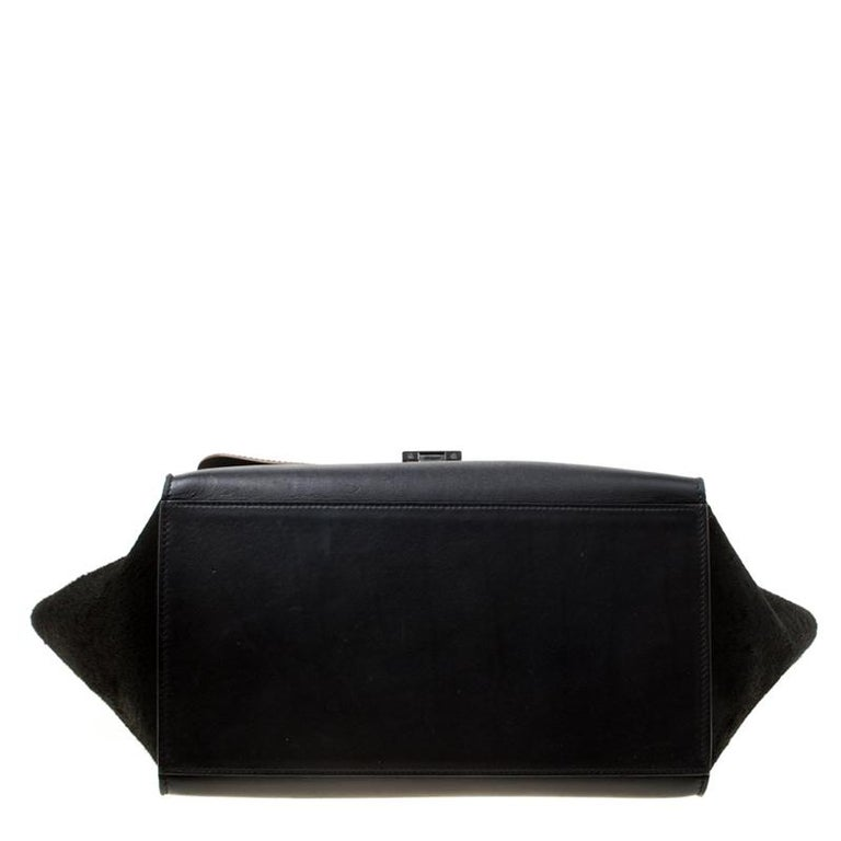Celine Black/Brown Calf Hair and Leather Medium Trapeze Top Handle Bag For Sale 1