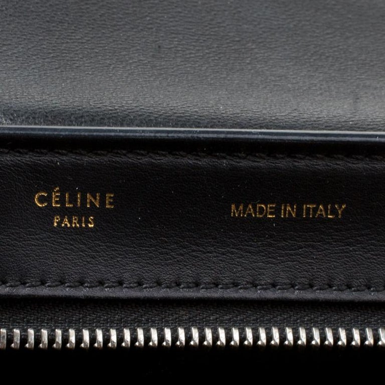 Celine Black/Brown Calf Hair and Leather Medium Trapeze Top Handle Bag For Sale 2