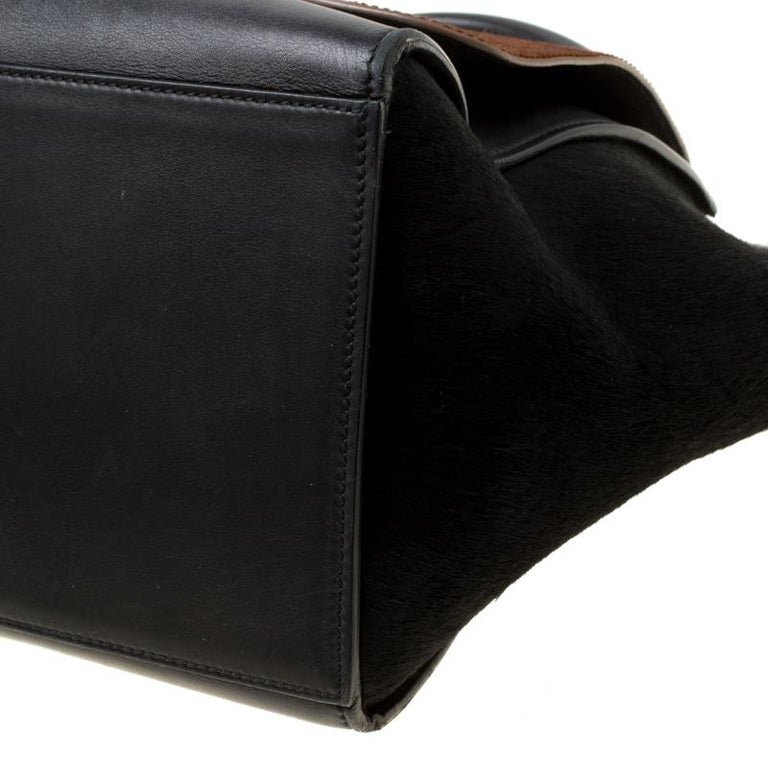 Celine Black/Brown Calf Hair and Leather Medium Trapeze Top Handle Bag For Sale 4