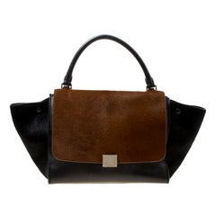 Celine Black/Brown Calf Hair and Leather Medium Trapeze Top Handle Bag