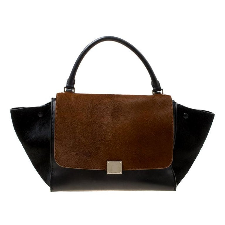 Celine Black/Brown Calf Hair and Leather Medium Trapeze Top Handle Bag For Sale