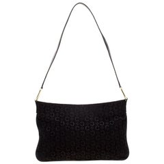 Celine Black C Logo Embossed Suede and Leather Shoulder Bag