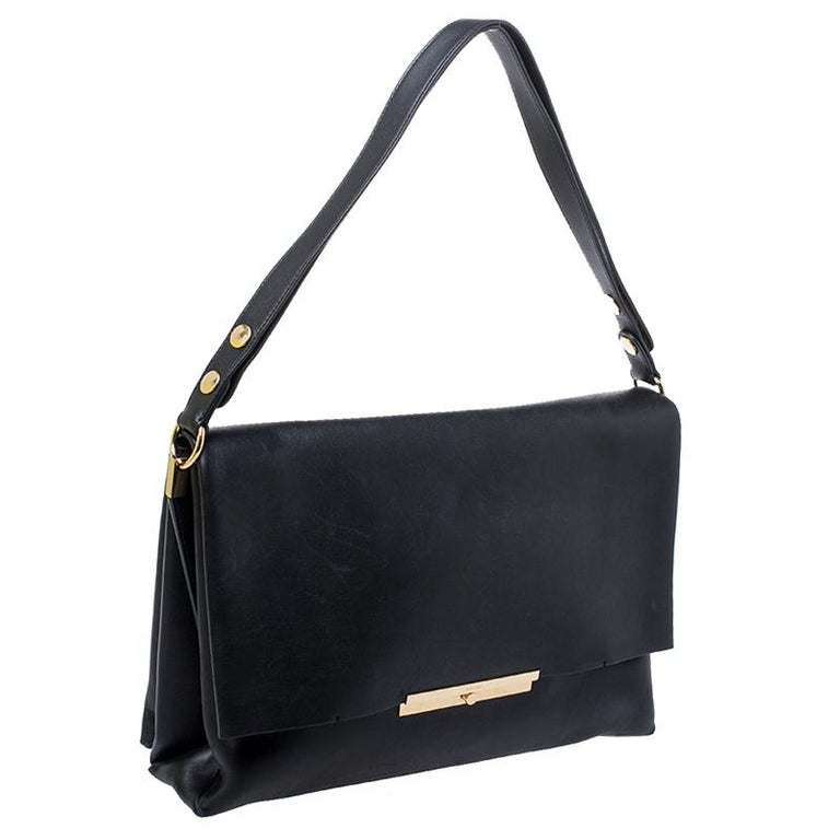 Celine Black Calfskin Leather Blade Flap Bag For Sale 7