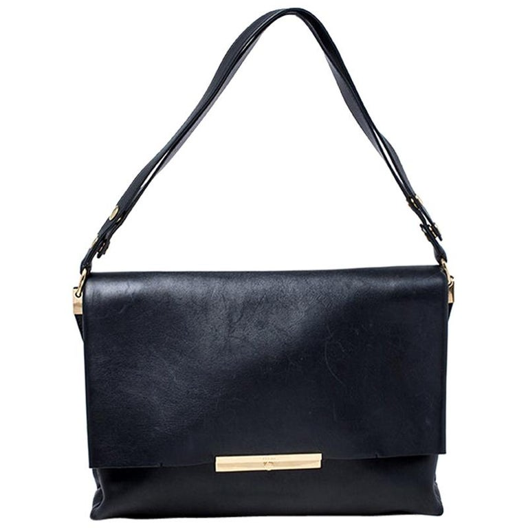 Celine Black Calfskin Leather Blade Flap Bag For Sale