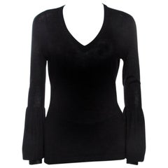Celine Black Cashmere Knit Long Sleeve Top M