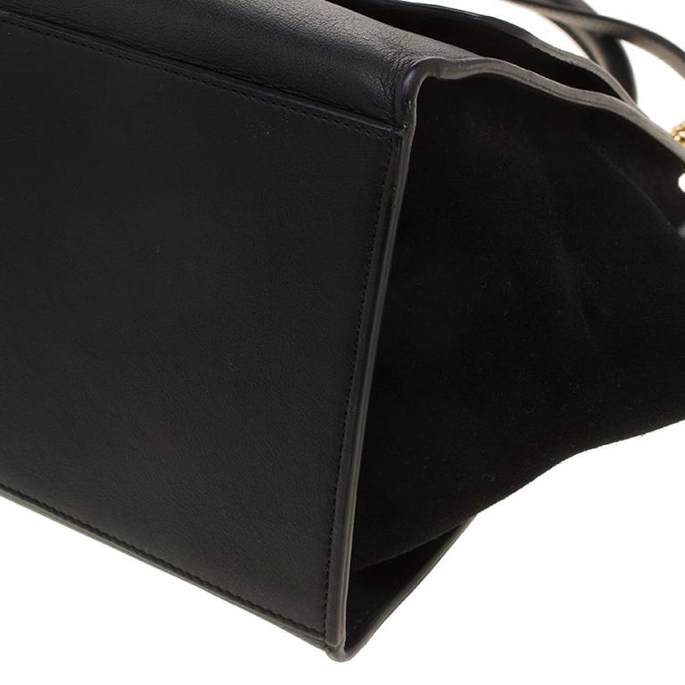 Celine Black Croc Embossed Leather and Suede Medium Trapeze Bag For Sale 6