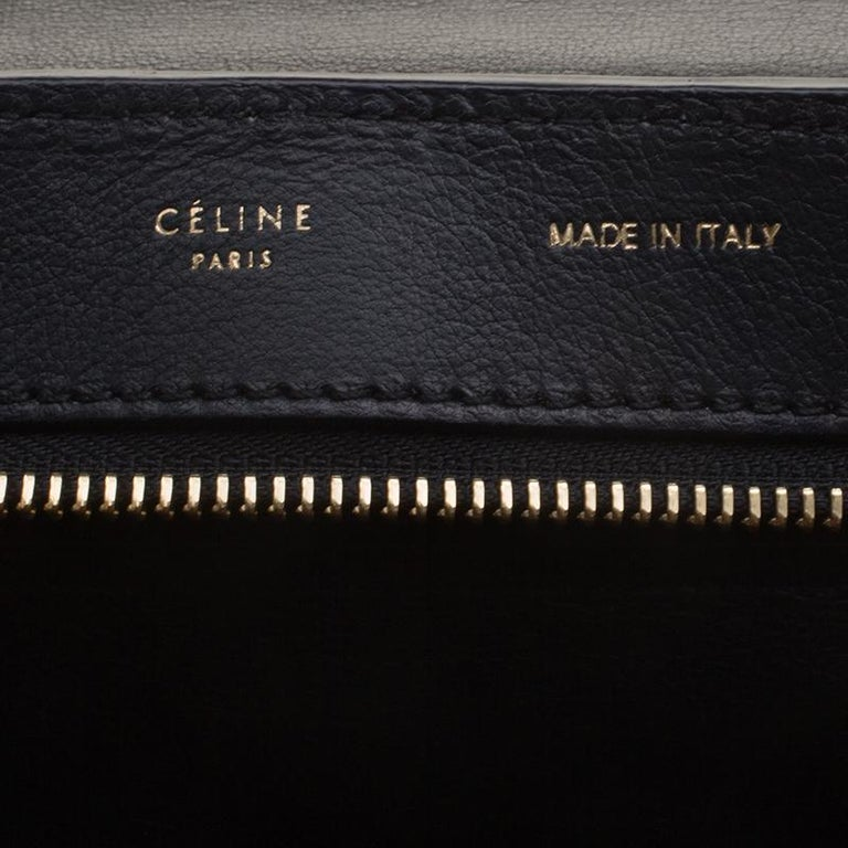 Celine Black Croc Embossed Leather and Suede Medium Trapeze Bag For Sale 4