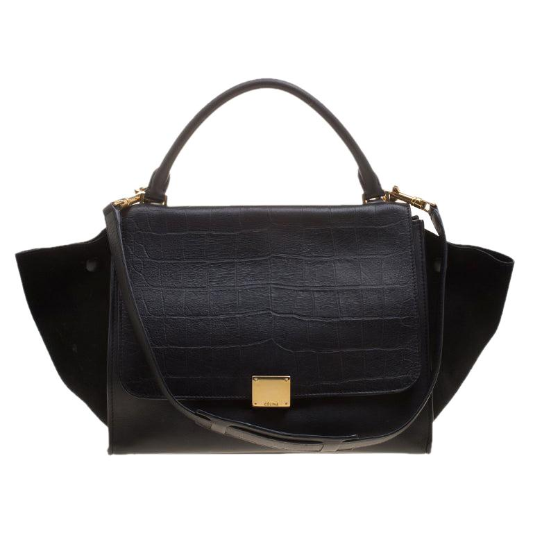 Celine Black Croc Embossed Leather and Suede Medium Trapeze Bag For Sale