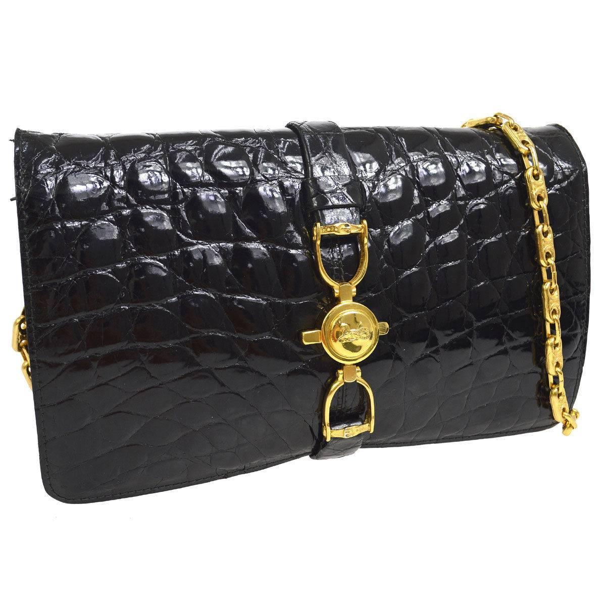 1stdibs Celine Black Crocodile Leather Gold Evening 2 In 1 Clutch Shoulder Flap Bag n511OSbC