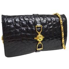 Celine Black Crocodile Leather Gold Evening 2 in 1 Clutch Shoulder Flap Bag
