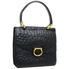 Celine Black Exotic Skin Leather Gold Kelly Style Top Handle Satchel Flap Bag