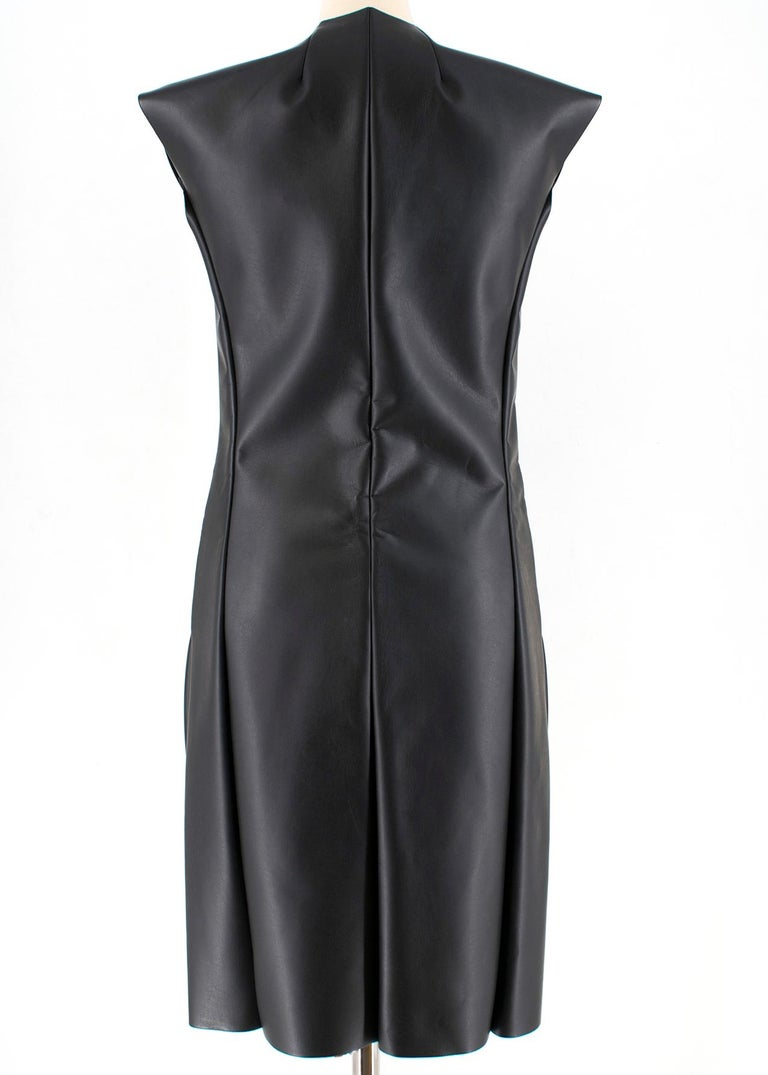 Celine Black Faux Leather Sleeveless Exposed Zip Front Dress 34/ 6 UK In New Condition In London, GB