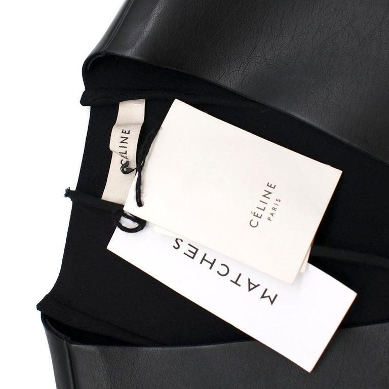 Women's Celine Black Faux Leather Sleeveless Exposed Zip Front Dress 34/ 6 UK