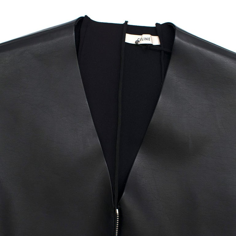 Celine Black Faux Leather Sleeveless Exposed Zip Front Dress 34/ 6 UK 1