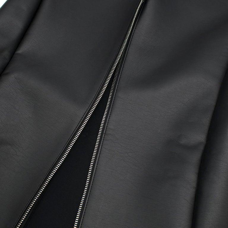 Celine Black Faux Leather Sleeveless Exposed Zip Front Dress 34/ 6 UK 2