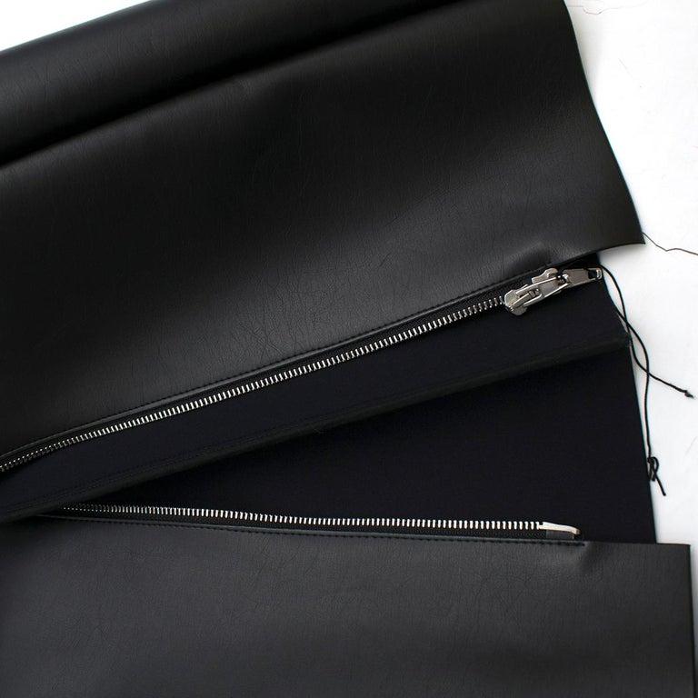 Celine Black Faux Leather Sleeveless Exposed Zip Front Dress 34/ 6 UK 3