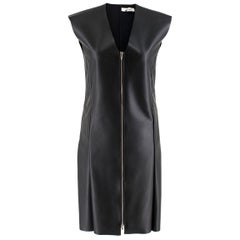 Celine Black Faux Leather Sleeveless Exposed Zip Front Dress 34/ 6 UK