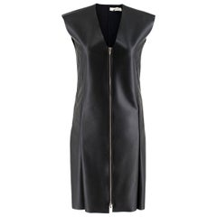 Celine Black Faux Leather Sleeveless Exposed Zip Front Dress - Size US 2