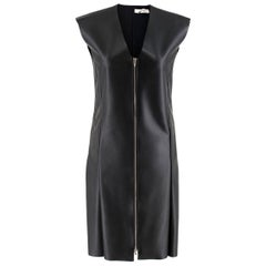 CELINE black FAUX LEATHER ZIP FRONT Cap Sleeve Shift Dress 34 XXS
