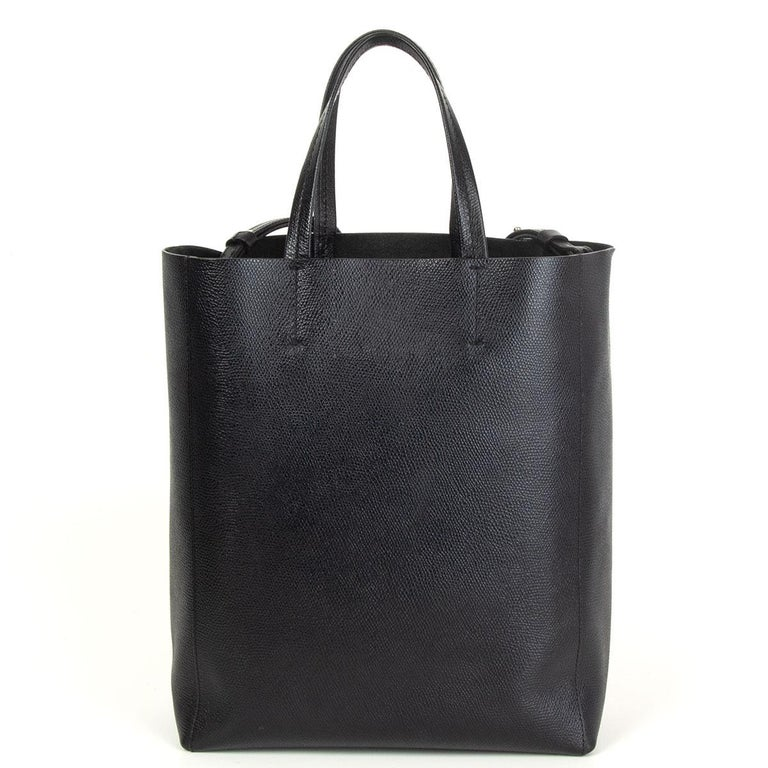 Black CELINE black Grained Calfskin leather CABAS SMALL TOTE Bag
