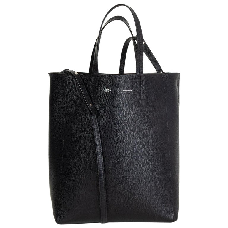 CELINE black Grained Calfskin leather CABAS SMALL TOTE Bag