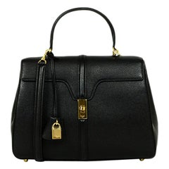 Celine Black Grained Calfskin Leather Medium 16 Top Handle Bag  rt. $4,550
