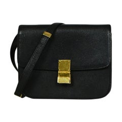 Celine Black Grained Calfskin Leather Medium Classic Box Flap Bag